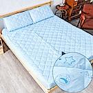 奶油獅-星空飛行-美國抗菌防污鋪棉保潔墊床包兩件組-單人加大3.5尺-藍