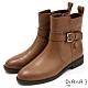 DIANA 2.5cm質感牛皮X壓紋拼接皮帶飾低跟短靴-迷人色調 –棕 product thumbnail 1