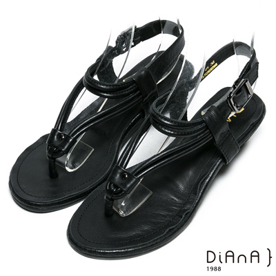 DIANA 經典原色-質感原色真皮人字涼鞋-黑