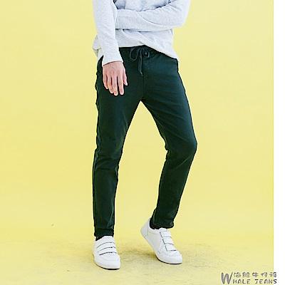 WHALEJEANS 男款韓版精選百搭素色抽繩束口中腰休閒長褲