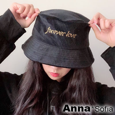 AnnaSofia 直條亮絨forever love 軟式漁夫帽盆帽(酷黑系)