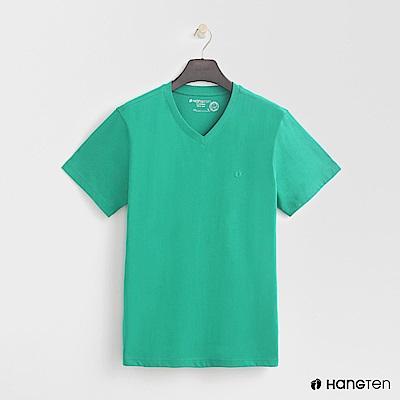 Hang Ten - 男裝 - 有機棉小V領純色T恤 - 綠