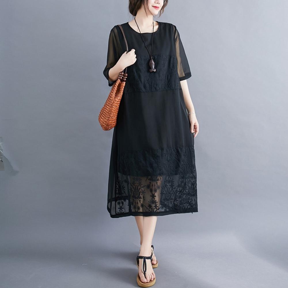 米蘭精品 連身裙短袖洋裝-圓領休閒純色刺繡女裙子4色73xz11