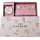 COACH金屬LOGO花兒化妝包x小圓鏡禮盒-PINK