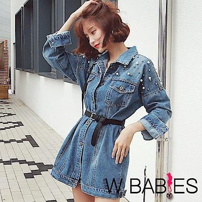 正韓 大小珠珠長袖長版牛仔外套 (藍色)-W BABIES