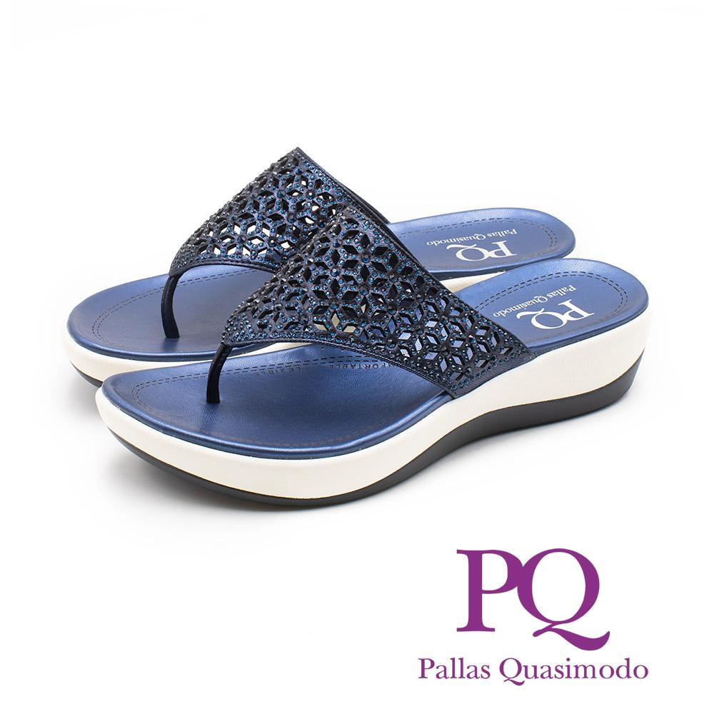 PQ 華麗閃耀 鏤空雕花厚底夾腳拖鞋 女鞋 - 藍(另有銀)