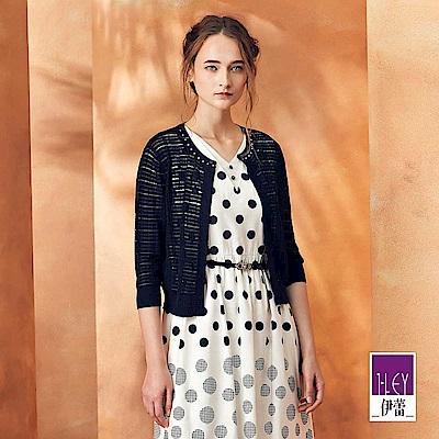 ILEY伊蕾 縷空緹織格紋造型針織小外套(黑)