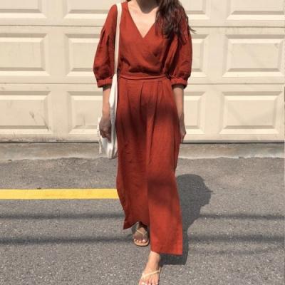 【KISSDIAMOND】秋季氣質優雅V領系帶開叉連衣裙洋裝(約會/百搭/休閒/KDD-595)