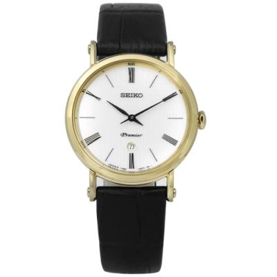 SEIKO 精工 Premier 羅馬 藍寶石水晶牛皮手錶-銀x金框x黑/30mm