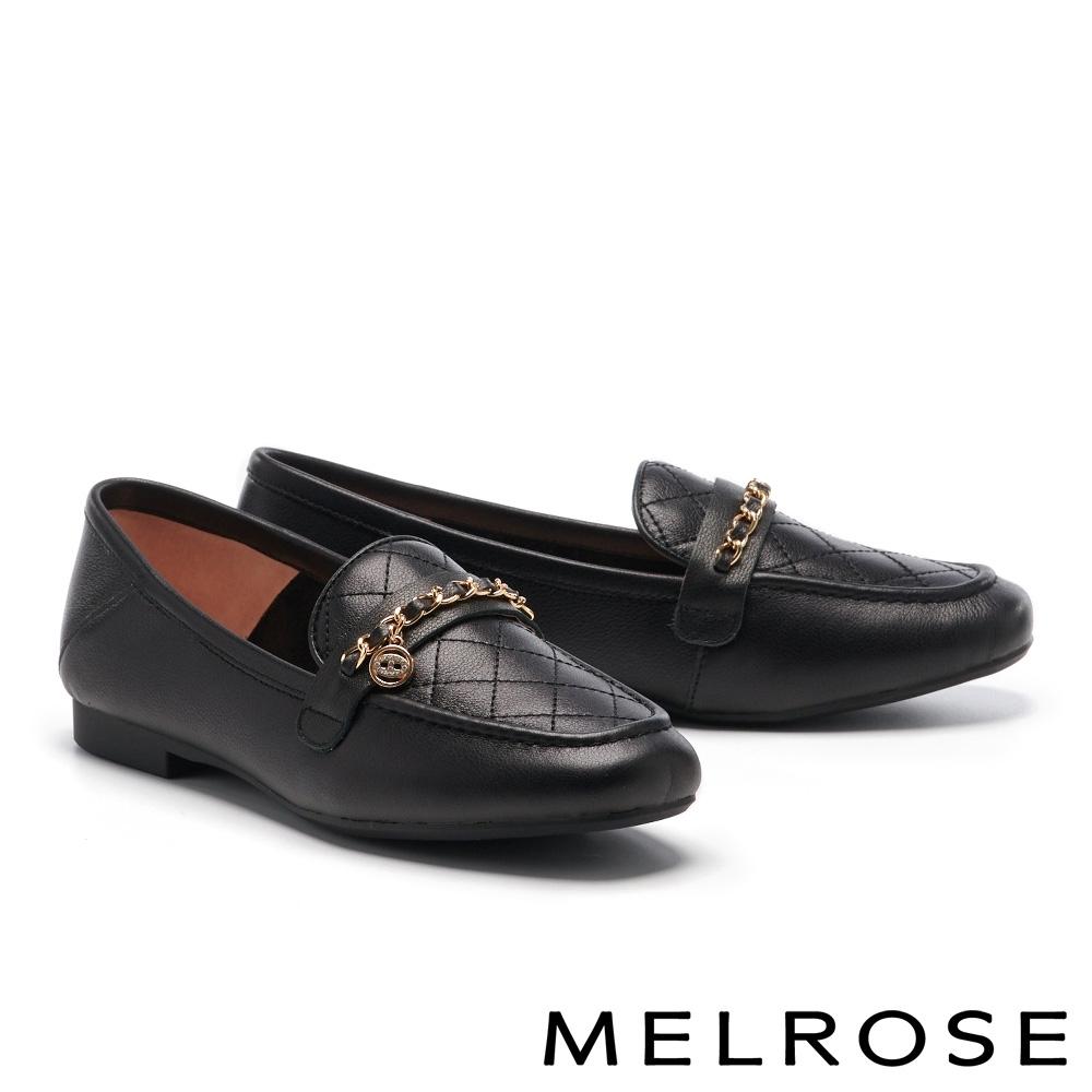 低跟鞋 MELROSE 知性時尚菱格紋牛皮微笑飾釦樂福低跟鞋-黑