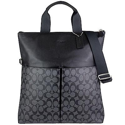 COACH 灰黑色防水材質皮革飾邊直立式肩背/手提大方包