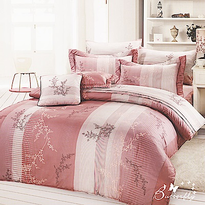 BUTTERFLY-台製40支紗純棉加高30cm加大雙人床包+雙人鋪棉兩用被-粉櫻邂逅