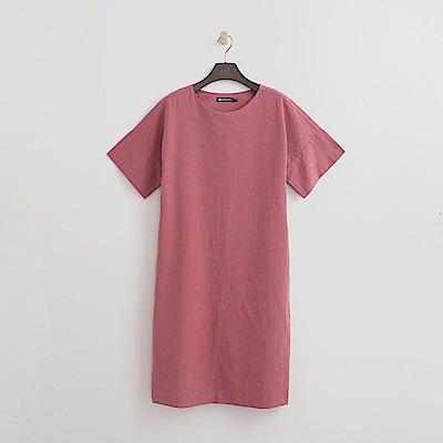 Hang Ten - 女裝 - 單色棉麻質感洋裝-玫瑰粉