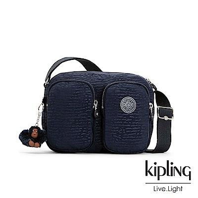 Kipling 文青靛藍紋路雙拉鍊前口袋側背包-PATTI