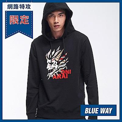 網路限定_鬼洗-BLUE WAY-圖騰側鬼頭連帽TEE