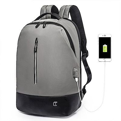 leaper 簡約休閒時尚15.6吋防水USB充電後背包 共2色