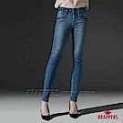 BRAPPERS 女款 新美腳ROYAL系列-中腰彈性黃色牛角刺繡鑲鑽窄管褲-藍