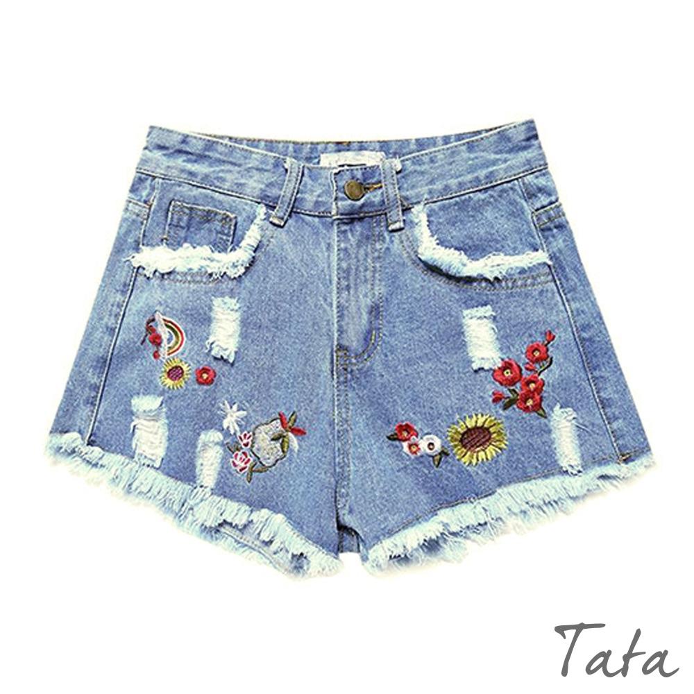 花刺繡刷破牛仔短褲 共二色 TATA-(S~XL)