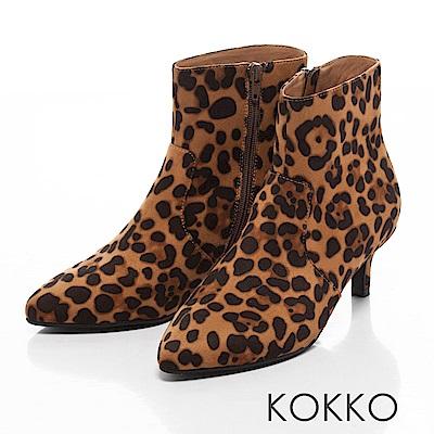 KOKKO-時尚寵兒尖頭顯瘦貼腿襪靴-豹紋