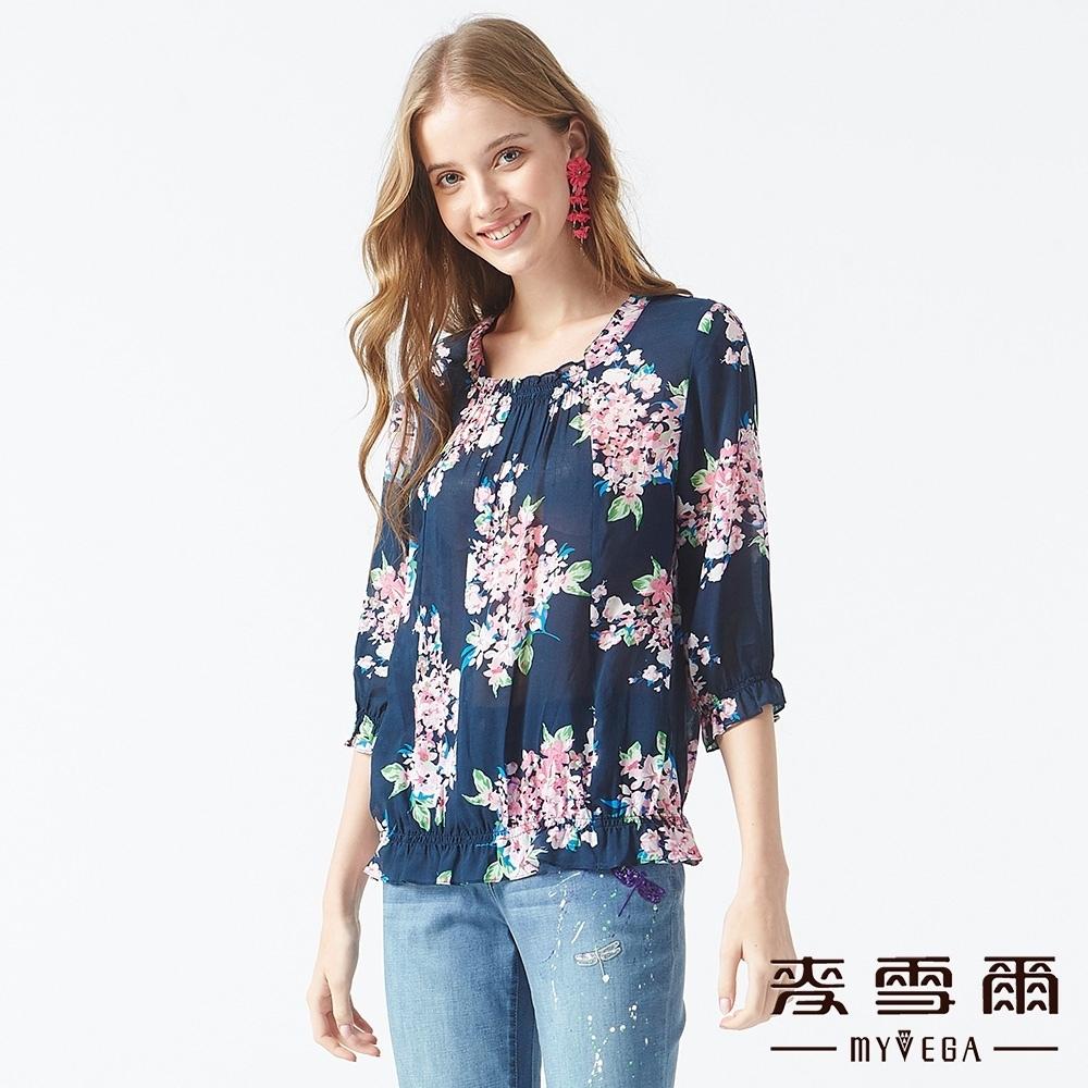 MYVEGA麥雪爾 紫藤花七分袖造型上衣-深藍