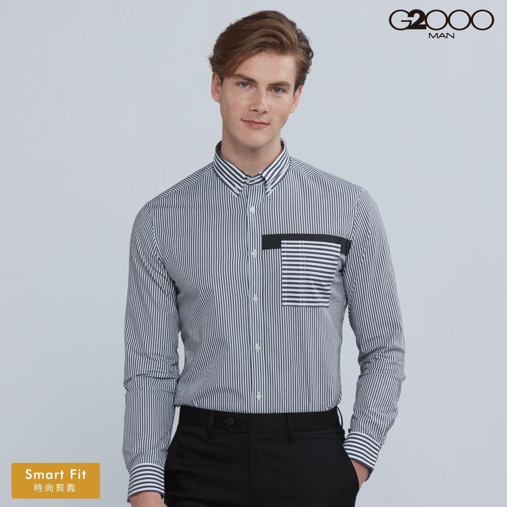 G2000時尚條紋長袖休閒襯衫-深灰色