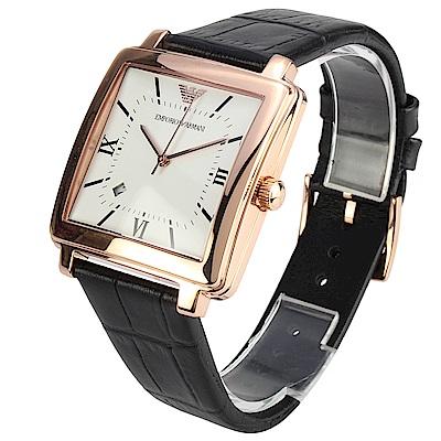 EMPORIO ARMANI 羅馬時標玫瑰金方形皮革腕錶-(AR 11075 )- 37 mm