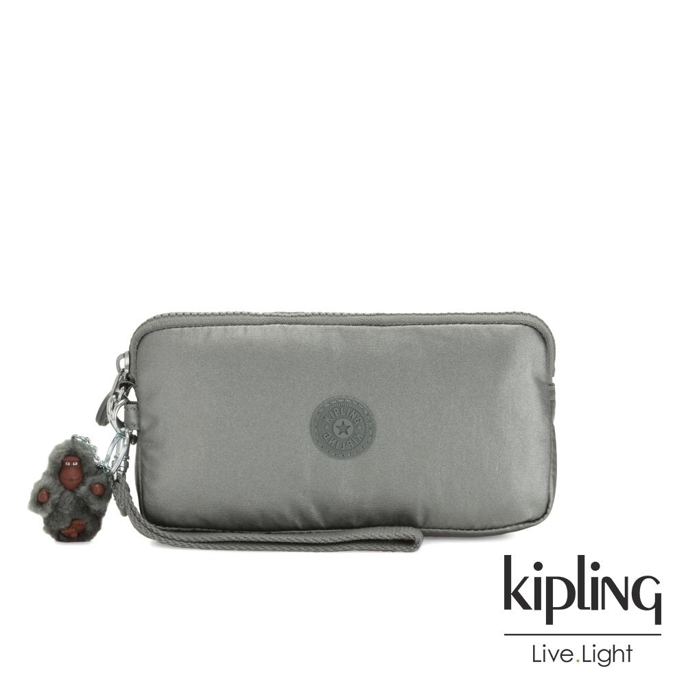 Kipling 個性金屬銀灰色手拿包-LOWIE