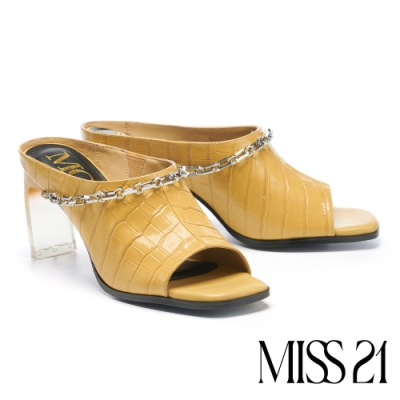 拖鞋 MODA Luxury 復古時尚鱷魚紋真皮高跟拖鞋-黃