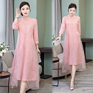【韓國K.W.】中國風雪紡氣質洋裝-1色