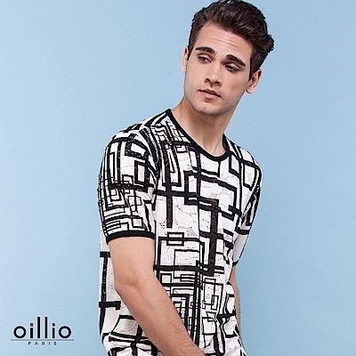 歐洲貴族oillio 短袖T恤 長方圖樣 透氣涼爽 白色