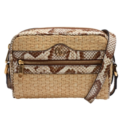 GUCCI 經典Ophidia系列蛇皮飾邊編織造型拉鍊斜背包(迷你-米色)