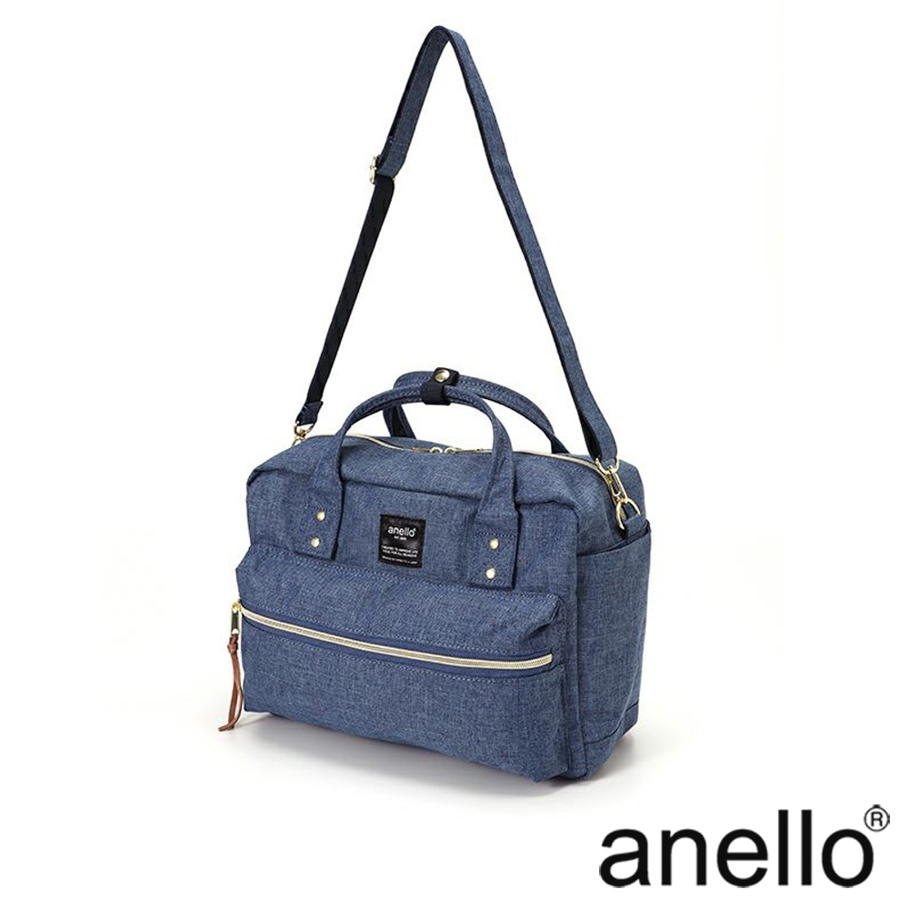 anello 獨特混色花紋手提斜背兩用包 淺藍丹寧 L