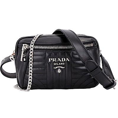 PRADA Diagramme 絎縫小牛皮鍊帶胸肩/斜背腰包(黑色)