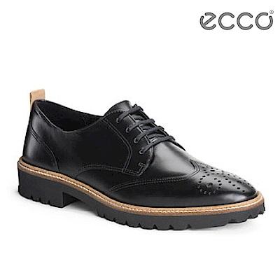 ECCO INCISE TAILORED經典率性低跟綁帶正裝鞋 女-黑