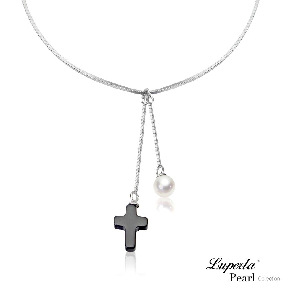 大東山珠寶 珍珠925銀項鍊 氣質黑瑪瑙十字架
