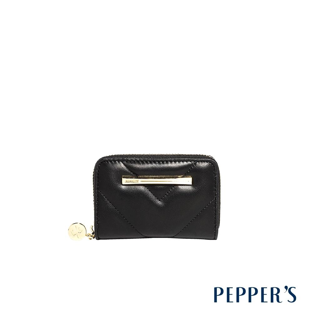 PEPPER'S Viva 羊皮拉鍊多卡片零錢包 - 煙燻黑