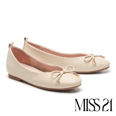 平底鞋 MISS 21 溫柔日常蝴蝶結設計全真皮平底鞋-米白