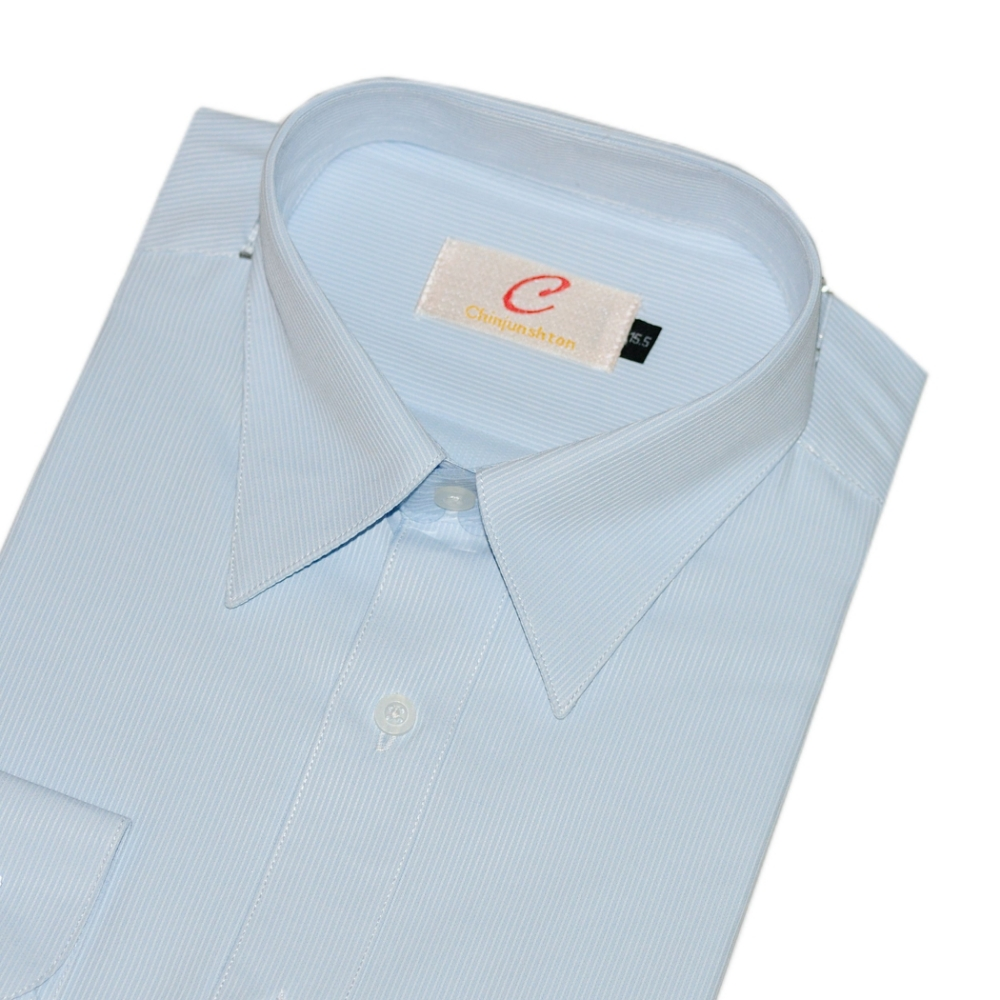 CHINJUNSHTON 細纖維抗皺襯衫、水藍底細條紋、編號:521-3