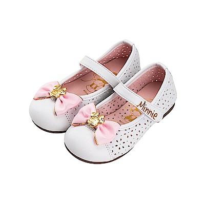 迪士尼童鞋 米妮 鏤空雕花公主鞋-白