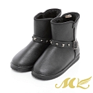 MK-金屬鉚釘內刷毛保暖雪靴-黑色  (兩色)
