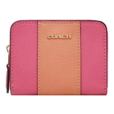 COACH 經典立體馬車LOGO 雙色零錢包/鑰匙包-桃橘色