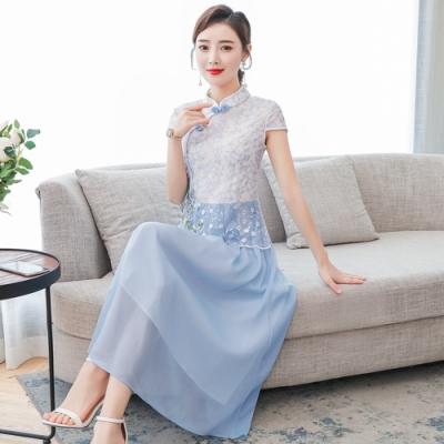 清新藍白網紗繡花改良旗袍洋裝M-3XL-REKO