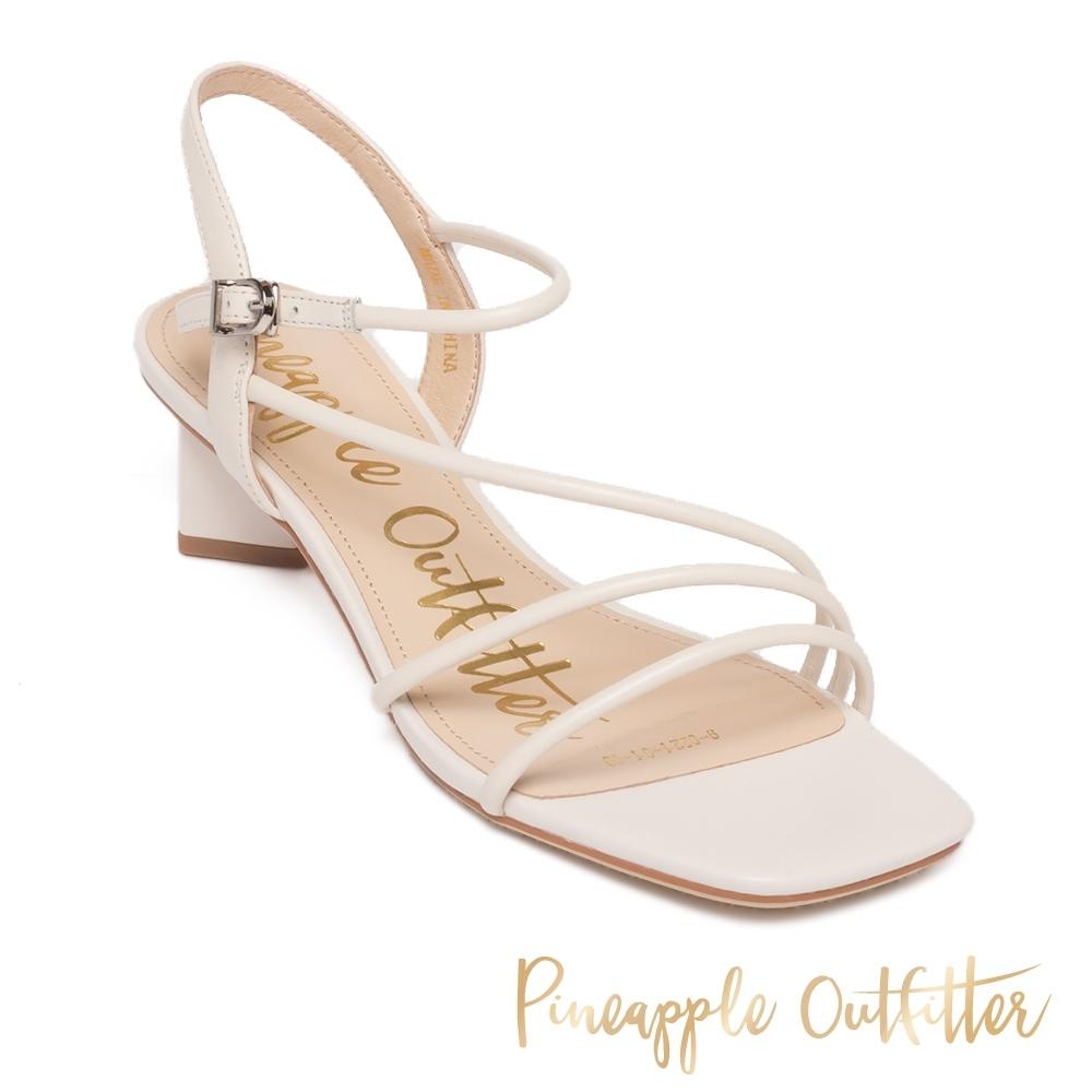 Pineapple Outfitter - SAVANAH 氣質優雅 真皮細帶菱形粗跟涼鞋 - 白色