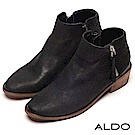 ALDO 原色真皮雙金屬拉鍊木紋粗跟短靴~沉穩墨黑