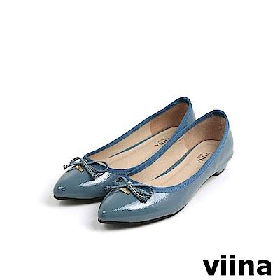 viina Basic鏡面綁帶蝴蝶結低跟鞋 - 灰藍