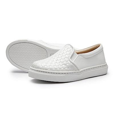 BuyGlasses 韓系編織兒童懶人鞋-白