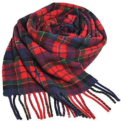 RALPH LAUREN POLO 義大利製小馬刺繡LOGO蘇格蘭格羊毛披肩/圍巾(紅底)