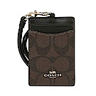 COACH LOGO馬車PVC皮革證件套票卡夾 棕色LOGO皮革x黑色
