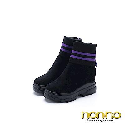 nonno 諾諾 時尚潮流 反折扣環靴 紫