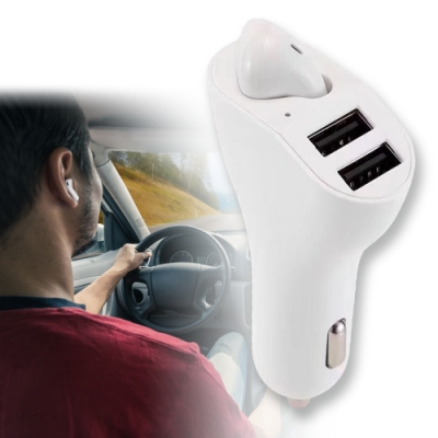 CA-RV2 單耳式5.1藍牙耳機車用點菸孔USB充電器